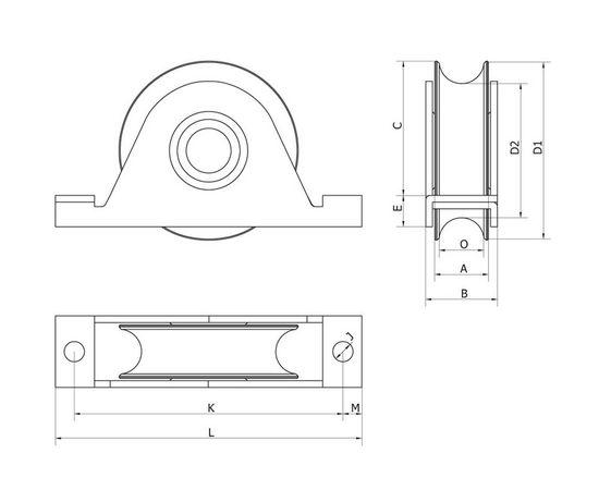 Колесо, D80, с пластиной крепления, макс. нагрузка на колесо 300 кг, для откатных (сдвижных) ворот, фото 2