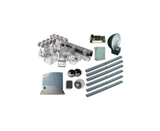 Комплектующие для откатных (сдвижных) ворот весом до 500 кг или шириной до 4,5 м (набор-комплект) с комплектом автоматики NICE RB400KCE, фото 1