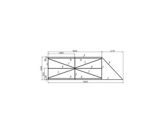 Комплектующие для откатных ворот под проём 3500х2000 мм (набор-комплект стальных профилей), фото 1