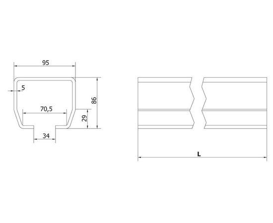 """Направляющая """"М"""" 6м балка (шина, профиль) для откатных (сдвижных) ворот, оцинкованая, фото 2"""