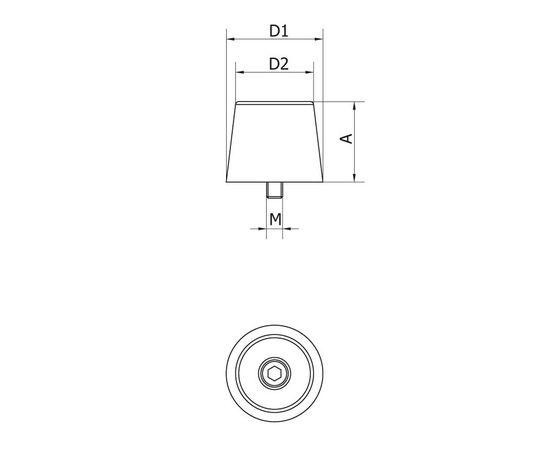 Ограничитель хода резиновый, 29х12,5 мм, с винтом, для откатных (сдвижных) ворот, фото 2